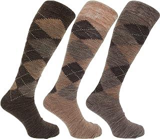Calcetines altos con mezcla de lana con diseño de rombos para hombre(paquete de 3 pares)