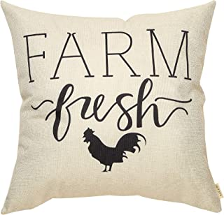 Fjfz Rustic Farmhouse Decor Farm Fresh Hen Rooster Spring Summer Sign Country Decoration Gift Cotton Linen Home Decorative Throw Pillow Case Cushion Cover with Words for Sofa Couch, 18