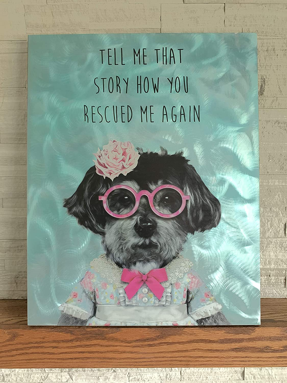 iLove Home Decor Textured Metal Wall Art - Rescue Dog Decor Wall Art - Realistic Wall Art Dog With Glasses 24