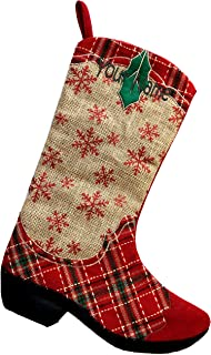 Monogrammed Me Personalized Christmas Stocking, Red Plaid Burlap Cowboy Boot