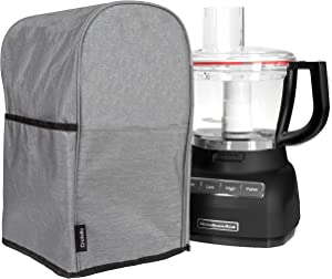 Crutello Food Processor Cover with Storage Pockets Compatible with KitchenAid 11-14 Cup Large Food Processors - Measuring 11.5