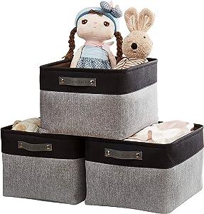 DECOMOMO Foldable Storage Bin | Collapsible Sturdy Fabric Storage Basket Cube W/Handles for Organizing Shelf Nursery Toy Closet (Grey and Black, Extra Large - 15.8 x 12.5 x 10-3 Pack)