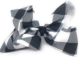 Girls 6 inch Grosgrain Plaid Hair Bow on Alligator Clip (Black and White Plaid)