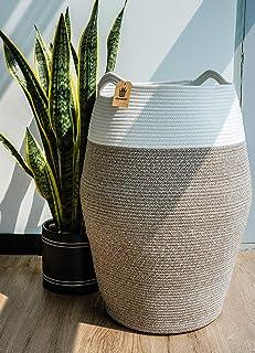 Goodpick Grand panier à linge en corde de coton tissé pour vêtements Taille L 25,6 cm