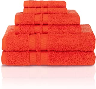 Superior Egyptian Cotton Towels, Washcloths, Hand, Bath, Tangerine, 6 Piece