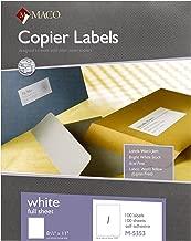MACO White Copier Full Sheet Labels, 8-1/2 x 11 Inches, 1 Per Sheet, 100 Per Box (M-5353)