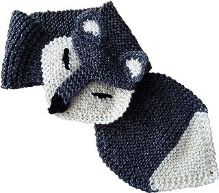 Sciarpa lupo da bambino in lana merino. Taglia unica dai 4 anni. Realizzata interamente a mano