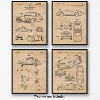 Original Porsche 911 Patent Poster Prints, Set of 4 (8x10) Unframed Photos, Great Wall Art Decor Gifts Under 20 for Home, Office, Garage, Man Cave, College Student, Teacher, Germany Cars & Coffee Fan