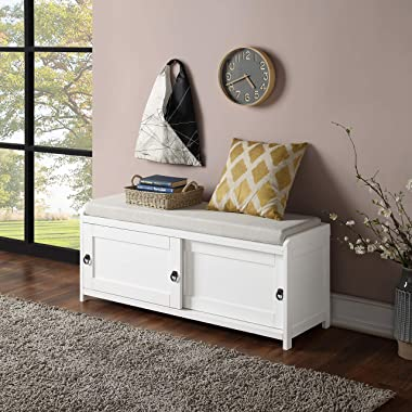 Knowlife Storage Bench Shoe Bench Wooden with Storage and 2 Cabinets and Sit Cushion for Entryway Living Room and Bedroom Whi