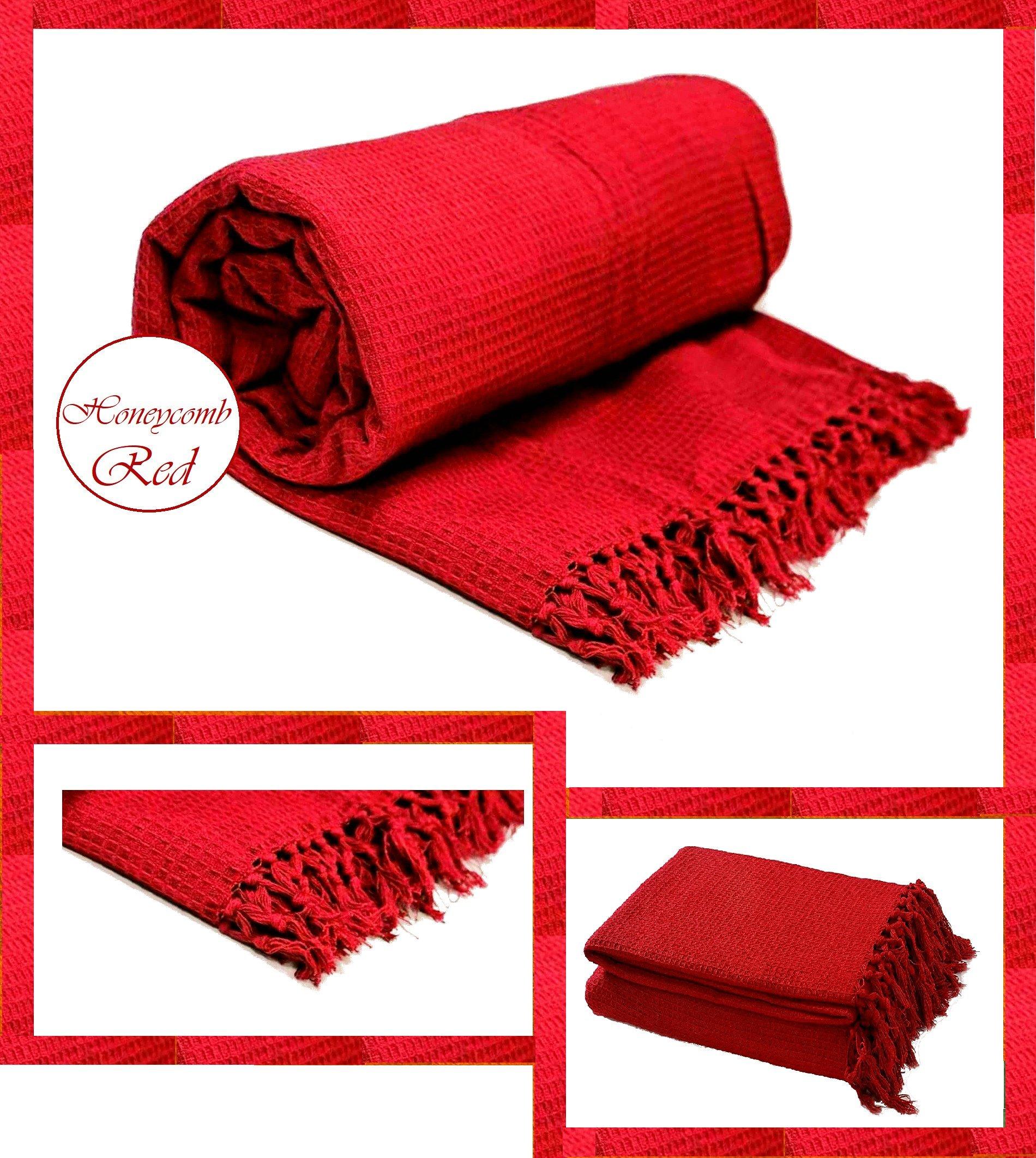 Tejido tipo gofre / panal 100% algodón para silla, sofá, manta de cama y manta, 100% algodón, Rojo, Chair : 127cm x 152cm: Amazon.es: Hogar