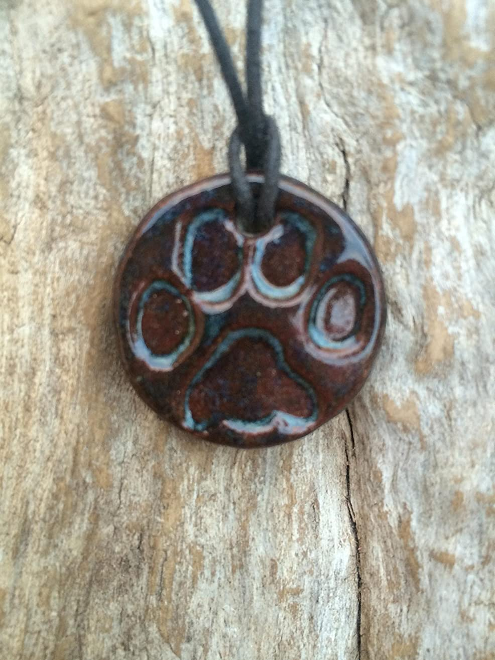 Paw Print Necklace | Dog Lover Necklace | Terracotta Clay Diffuser Necklace | Essential Oil Diffuser Pendant | Aromatherapy Jewelry | Essential Oil Accessory