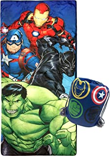 Jay Franco Marvel Avengers Battle Formation Slumber Sack - Cozy & Warm Kids Lightweight Slumber Bag/Sleeping Bag - Featuring Captain America, Iron Man, Black Panther, Hulk (Official Marvel Product)