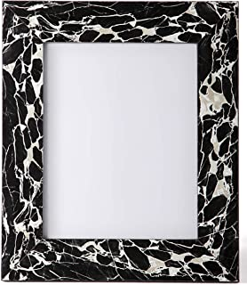 Carla Carstens Black & White Marble 8x10 Picture Frame | Plastic Acrylic Suede Glass | Tabletop Desktop Photo | Wedding Personal Personalized Engagement Anniversary |