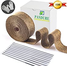 Pandure Titanium Lava Fiber,Exhaust Heat Wrap,Exhaust Header Wrap,Kit for Motorcycle with Stainless Ties (15M, Gold)