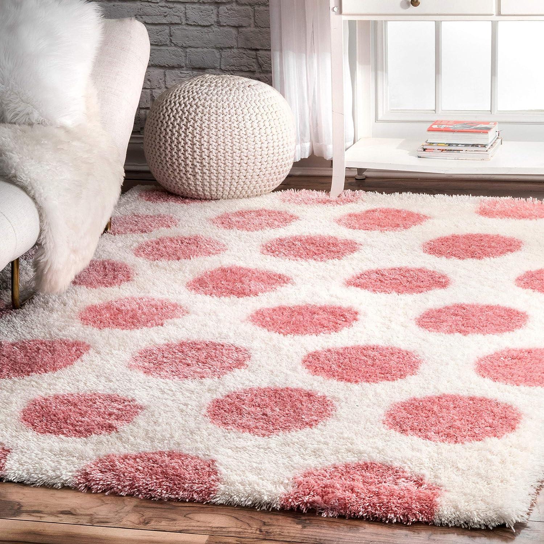 nuLOOM Hannah Polka Dot Shag Area 4' Pink 100% quality warranty 6' Rug x Oakland Mall