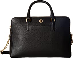 Tory Burch Georgia Pebbled Double-Zip Satchel
