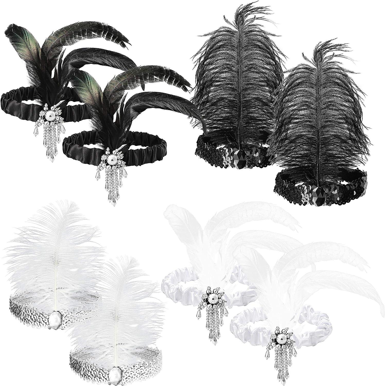 WATINC 8pcs 1920s 55% OFF Flapper Quality inspection Headband Black Sequin and Headb White