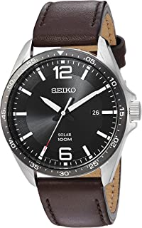 Seiko Men's Sport Watches Stainless Steel Japanese-Quartz Leather Calfskin Strap, Brown, 22 (Model: SNE487)
