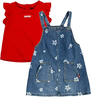 Levi's Girls' Graphic T-Shirt and Denim Jumper 2-Piece Outfit Set