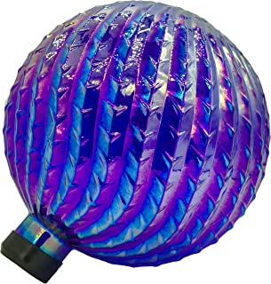 Outdoor Design Accents Mosaic Glass Gazing Globe Hand Blown Glass, Metallic Blue