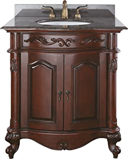 Avanity Provence 30 in. Vanity with Imperial Brown Granite Top and Sink in Antique Cherry finish