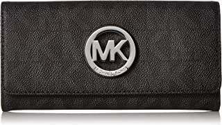 Michael Kors Fulton Flap Signature MK PVC Clutch Wallet Black