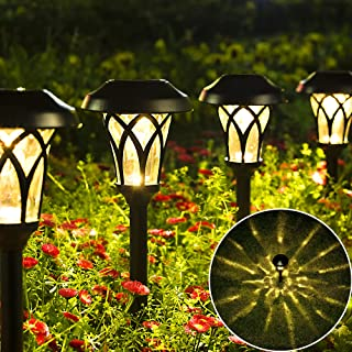 GIGALUMI 6 Pack Solar Garden Lights, Warm White Solar Landscape Lights, Waterproof Solar Lights Outdoor for Lawn, Patio, Y...