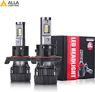 Alla Lighting S-HCR 2018 Newest Version SUPER Mini H13 9008 Dual High/Low Beam LED Headlight Bulbs 10000 Lumens Extremely Super Bright Cool White High Power All-in-One Conversion Kits Headlamps