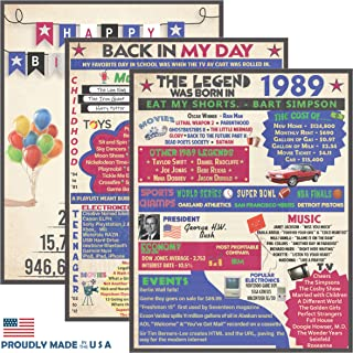 Vapara Designs 30th Birthday Decorations - 3 Pack of Birthday Posters 8x10 (Unframed) - 30th Birthday Gifts for Women and Men -1989 Birthday Party Supplies