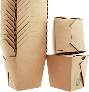 100% Recycled, Eco-Friendly 32 Oz Chinese Take Out Boxes 50 Pk. Unbleached, BPA-Free Takeout Containers are Leakproof and Microwavable. Stackable to-Go Meal Pails Great for Weddings or Party Favors