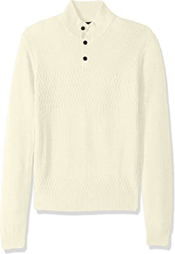 Perry Ellis Hommes's Solid Texturouge Mock Neck chandail, Cream, Extra grand