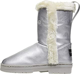 Girls Pearlized PU Winter Boots with Faux Fur Trims Casual Dress Shoes