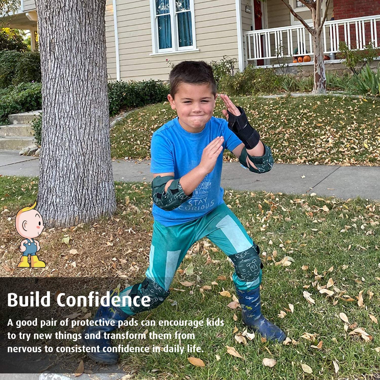 Bike Knee Pads for Children Boys Girls Comfortable/& Flexible Innovative Soft Kids Knee and Elbow Pads with Bike Gloves Roller-Skating Skateboard Toddler Protective Gear Set w//Mesh Bag/& Sticker