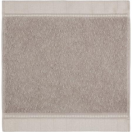 5 /% Leinen black m/öve Brooklyn Waschhandschuh Uni mit Fischgratbord/üre 15 x 20 cm aus 85 /% Baumwolle 10 /% Viskose aus Bambus-Zellstoff