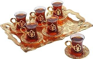 Turkish Tea Set with Tray, Glass Tea Cups Saucer Set 6, Tea Set Women Men Adults, Tea Mug, Coffee Tea Party Accessories, T...