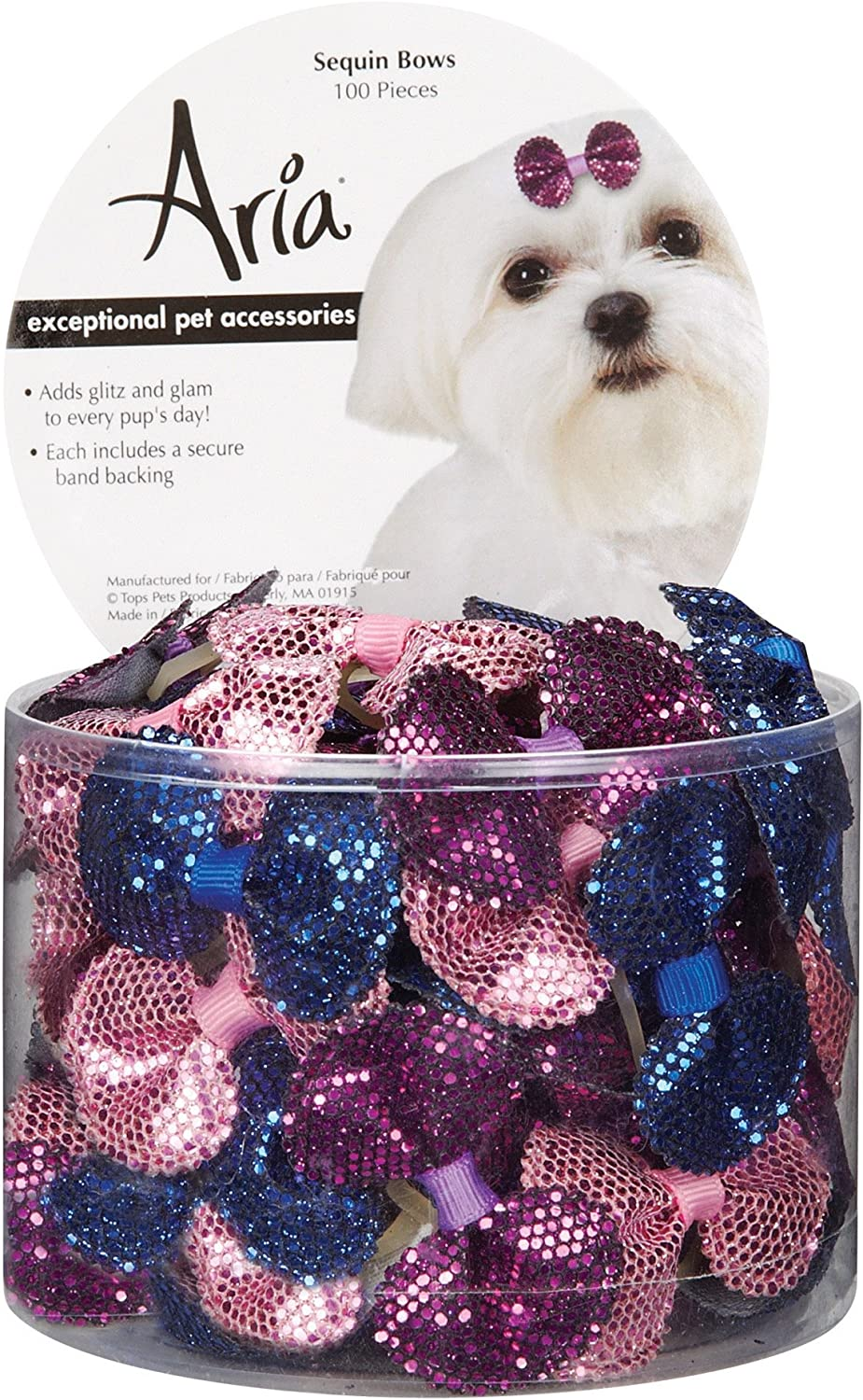 Aria DT5638 99 Sequin Dog Hair Bow Canister, 100 Pieces