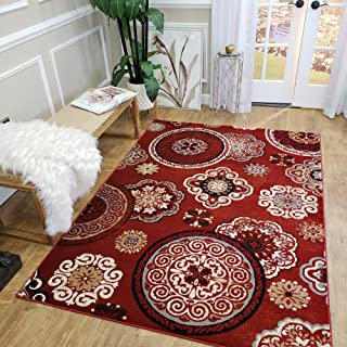 MH10 | Maxy Home Leila Red Floral Medallion 5 x 7 New Trend Bohemian