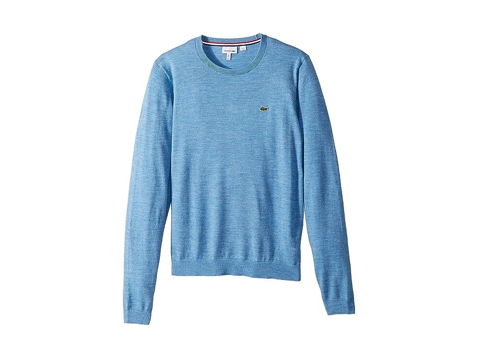 Lacoste Kids Long Sleeve Crewneck Sweater (Toddler/Little Kids/Big Kids) (Cloudy Blue Chine) Boy