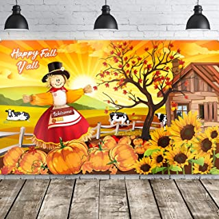 Blulu Happy Fall Y'all Party Decoration Backdrop Welcome Fall Scarecrow Harvest Decorative Autumn Background for Halloween Thanksgiving Party Décor Harvest Time Pumpkin (Orange Fall)