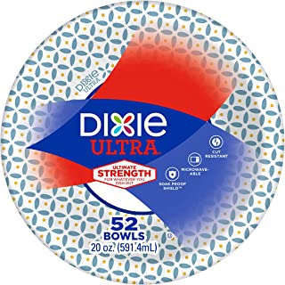 Dixie Ultra Paper Bowls, 20oz, 52 Count, Dinner or Lunch Size Printed Disposable Bowls