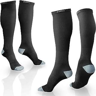 BAMS Compression Socks (Premium Bamboo) for Men & Women - [2 Pairs] Graduated 15-20 mmHg