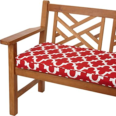 Mozaic AZCS2017 Indoor or Outdoor Bench Cushion with Corded Edges and Tie Backs, 48 in W x 19 in D, red