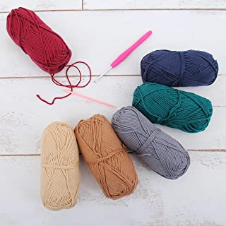 Threadart Crochet 100% Pure Cotton Yarn Set | Gemstone Colors | Pack of 6 Skeins Each 50 grams | Worsted Medium #4 Yarn | 85 yds per Skein - 9 Sets available