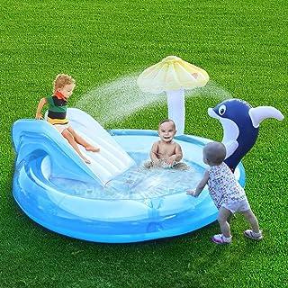 Centro De Juegos Inflable, Linda Piscina Con Tobogán De Agua, Rociador De Agua Con Delfines Y Sombrillas De Hongos, Piscina De Suministros Para Fiestas Familiares De Verano Para Bebés, Niños Y Adultos