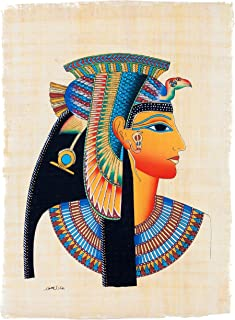 """Leolana Egyptian Papyrus""""Cleopatra"""" Hand Painted Painting on 100% Authentic Egyptian Papyrus Paper-9x13-Multi Color"""