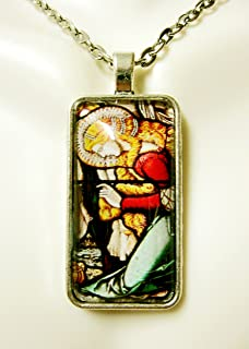 Mary Magdalene kneeling at the cross stained glass window pendant and chain - AP16-002
