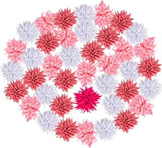 Craft Flowers - 50-Pack Flower Embellishments, 2.8-Inch Dandelion Fabric Flowers for Craft, DIY Wedding Decorations, Ornaments, 5 Assorted Colors
