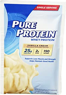 Pure Protein Powder, Whey, Great for Meal Replacement Shakes, Low Carb, Gluten Free, Vanilla Cream, 1.37 oz Single Serve Packets, 7 Count