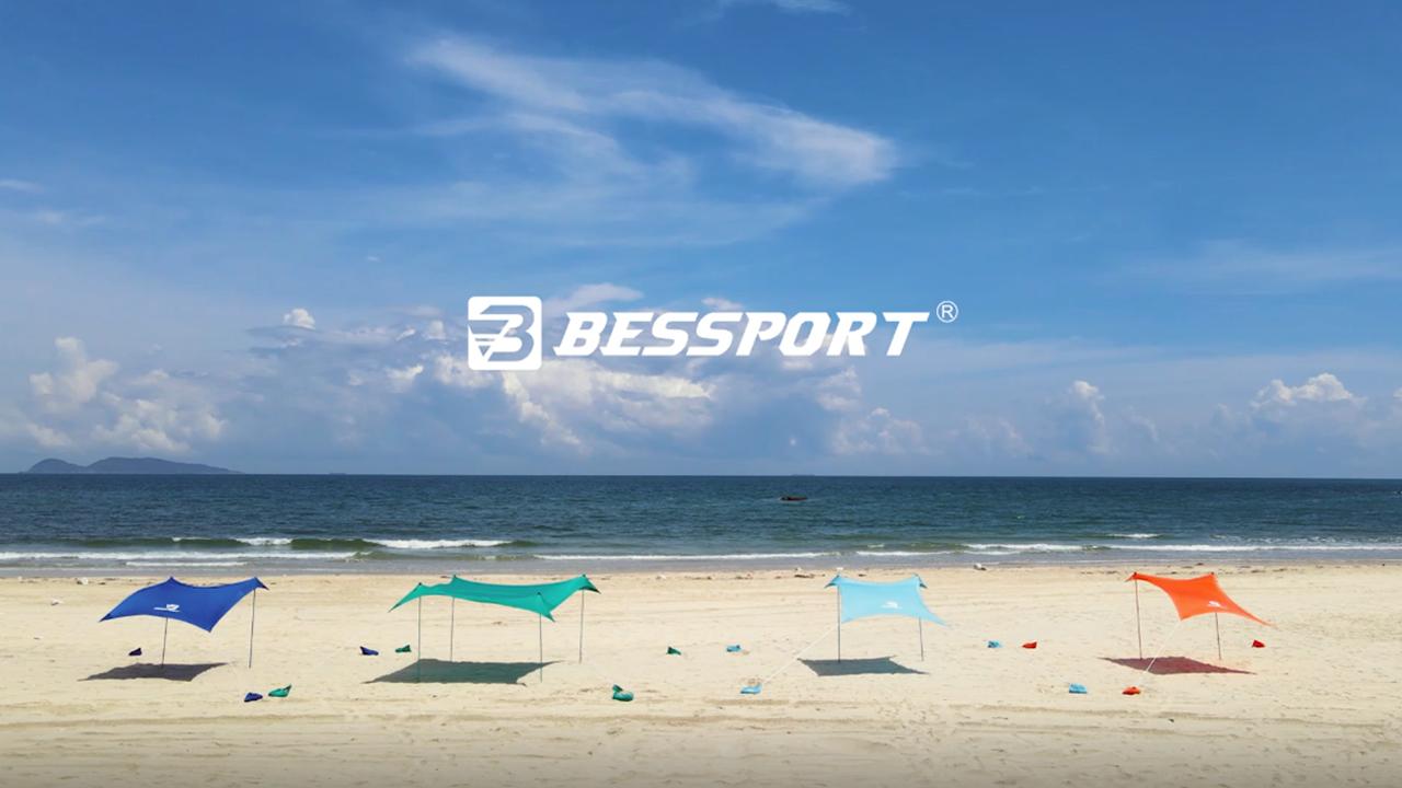 91hWgkA5huL Bessport Strandzelt Sonnenschutz Kommt mit 4 Sandsäcken und 4 Aluminiumstangen 3mx3m   UPF 50+ UV Sonnenschutz…