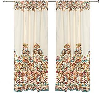Set of 2 Rod Pocket Brocade Print Curtains, Beige Red Orange Blue Green Window Curtain..